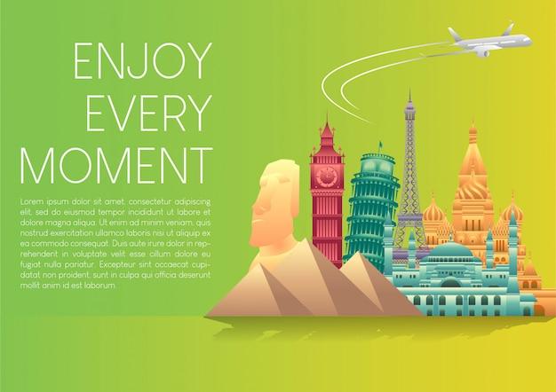 Illustrazione vettoriale di banner di poster giornata mondiale del turismo con punti di riferimento famosi del mondo ed elementi di destinazioni turistiche.