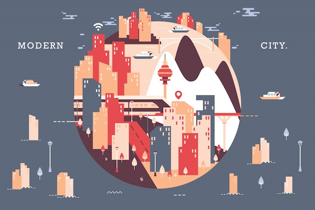 Illustrazione vettoriale di bella città