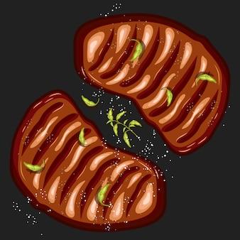 Illustrazione vettoriale di bistecca doppio