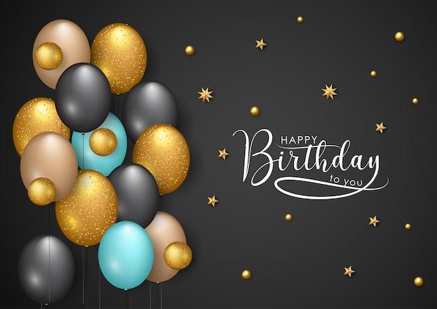 Illustrazione vettoriale di buon compleanno - stelle dorate e palloncini di colore