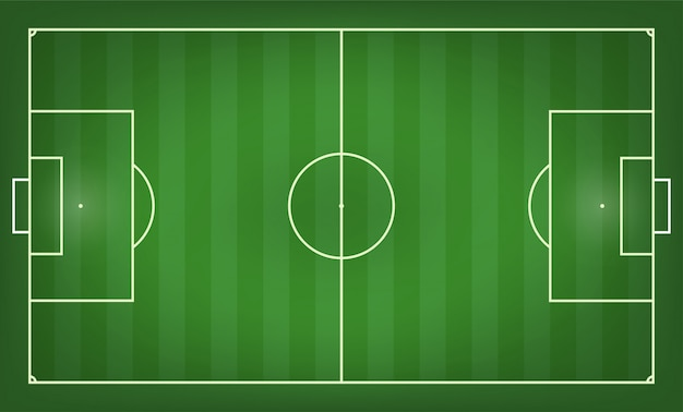 Illustrazione vettoriale di campo di calcio. vista dall'alto