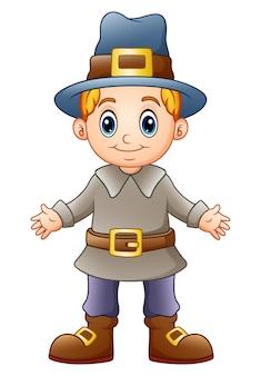 Illustrazione vettoriale di cartoon boy pilgrim