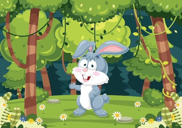 Illustrazione vettoriale di cartoon rabbit