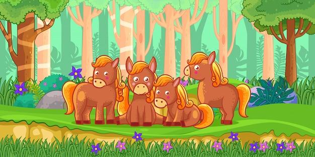 Illustrazione vettoriale di cavalli di cartone animato nella giungla