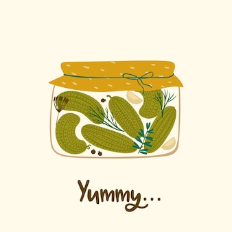 Illustrazione vettoriale di cetrioli in scatola