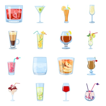 Illustrazione vettoriale di cocktail e bere simbolo. set di cocktail e set di ghiaccio