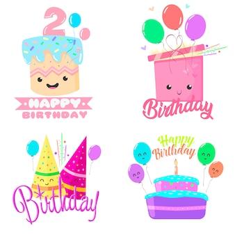 Illustrazione vettoriale di compleanno dei cartoni animati