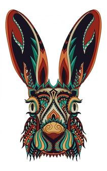 Illustrazione vettoriale di coniglio zentangle