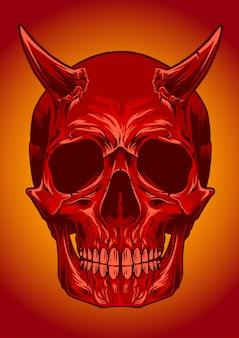 Illustrazione vettoriale di cranio diavolo