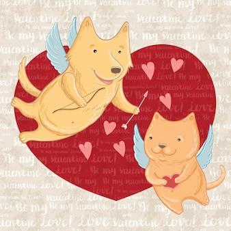 Illustrazione vettoriale di cupido cane e gatto, saluto san valentino. modello per biglietti di auguri.