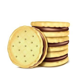 Illustrazione vettoriale di diversi sandwich-cookies con il riempimento di cioccolato.