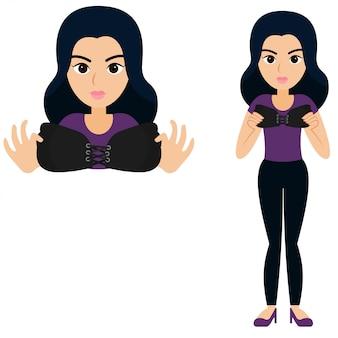 Illustrazione vettoriale di donna e reggiseno