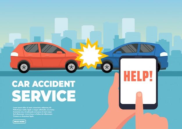 Illustrazione vettoriale di due auto in incidente.