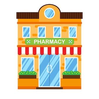 Illustrazione vettoriale di edificio retrò con farmacia.
