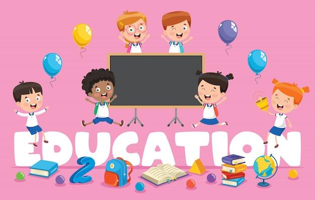 Illustrazione vettoriale di educazione dei bambini