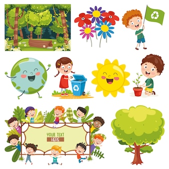 Illustrazione vettoriale di elementi ambientali
