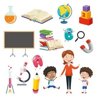 Illustrazione vettoriale di elementi di educazione