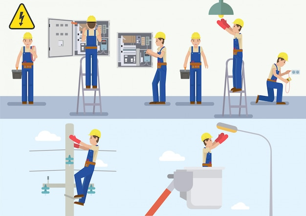 Illustrazione vettoriale di elettricista al lavoro