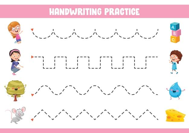 Illustrazione vettoriale di esercizio della scrittura a mano