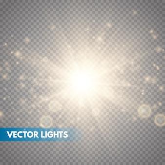 Illustrazione vettoriale di esplosione di stelle, sole splendente. sunshine isolato