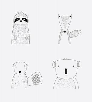 Illustrazione vettoriale di facce di animali