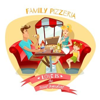 Illustrazione vettoriale di famiglia pizzeria
