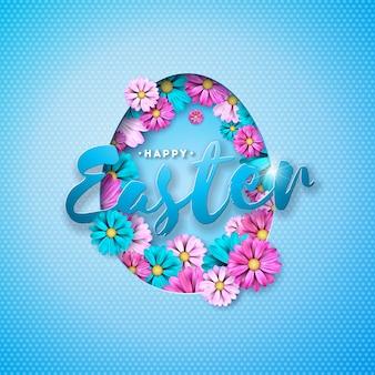 Illustrazione vettoriale di felice vacanza di pasqua con fiori