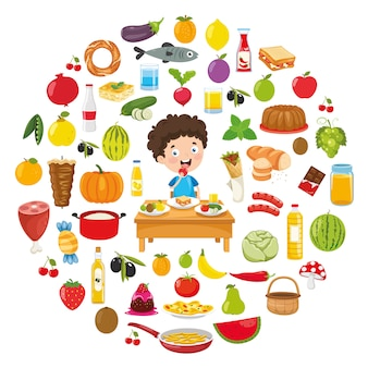 Illustrazione vettoriale di food concept design