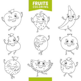 Illustrazione vettoriale di frutta da colorare