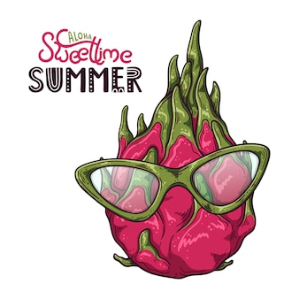 Illustrazione vettoriale di frutta drago. lettering: aloha sweet time summer.