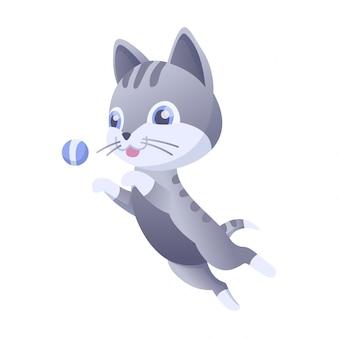 Illustrazione vettoriale di gattino casa gatto domestico in posizione e attività. il gatto salta per la palla.
