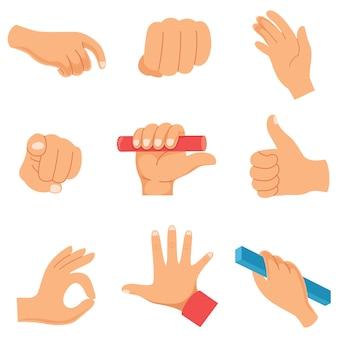 Illustrazione vettoriale di gesti delle mani