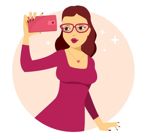 Illustrazione vettoriale di giovane ragazza in abito rosso fa selfie foto su sfondo rosa.