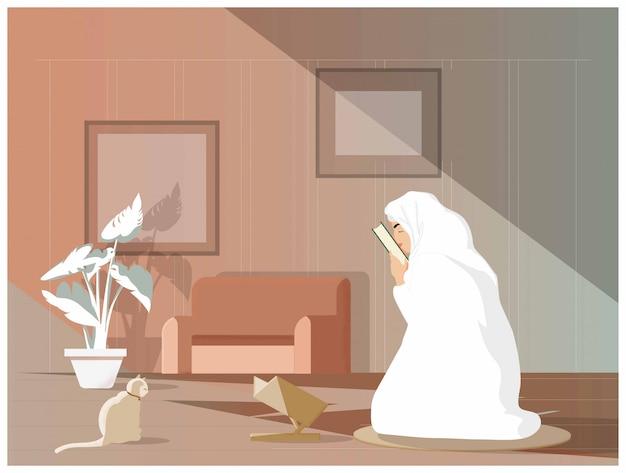 Illustrazione vettoriale di giovane ragazza musulmana bacia il corano o il corano dopo aver studiato l'islam. i musulmani tradizionali studiano o imparano sempre l'islam seguendo la tradizione di maometto. concetto dei musulmani moderni.