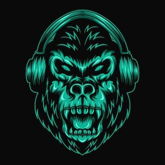 Illustrazione vettoriale di gorilla cuffia