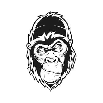 Illustrazione vettoriale di gorilla male con stile in bianco e nero