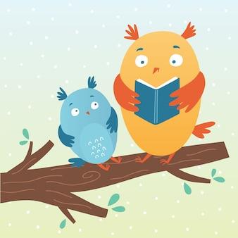 Illustrazione vettoriale di gufi carino che legge un libro