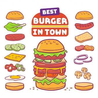 Illustrazione vettoriale di hamburger e ingrediente