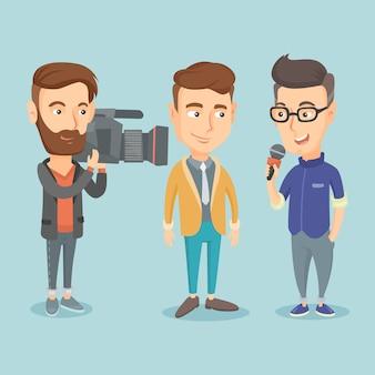 Illustrazione vettoriale di intervista tv.