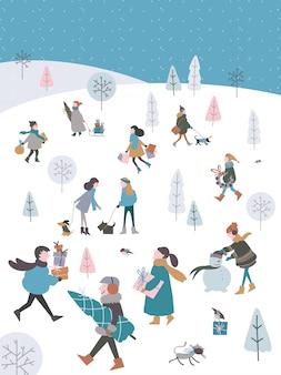 Illustrazione vettoriale di inverno all'aperto con gente di natale