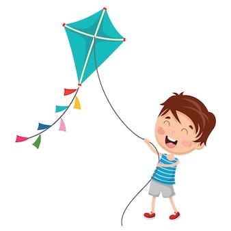 Illustrazione vettoriale di kid playing kite