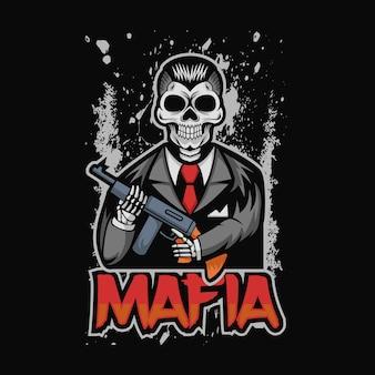 Illustrazione vettoriale di mafia cranio