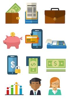Illustrazione vettoriale di molti oggetti nel mondo degli affari
