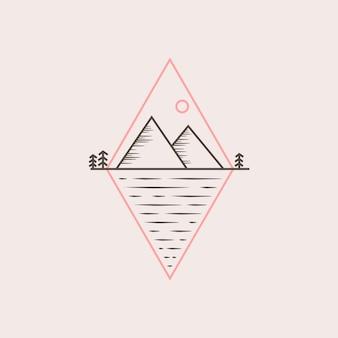 Illustrazione vettoriale di montagna logo design