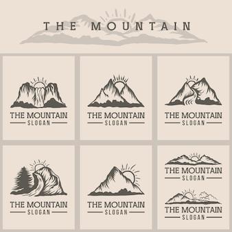 Illustrazione vettoriale di montagna tramonto logo