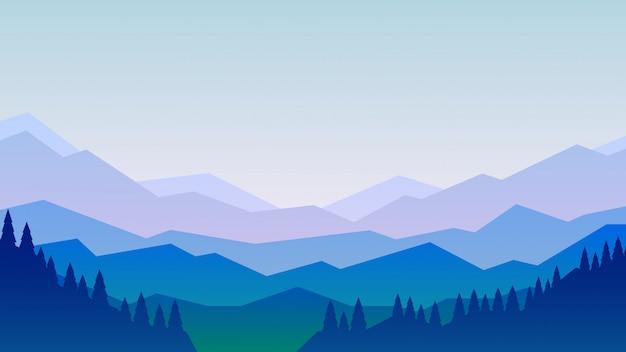 Illustrazione vettoriale di montagne e paesaggio forestale