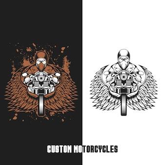 Illustrazione vettoriale di motocicli personalizzati motociclista