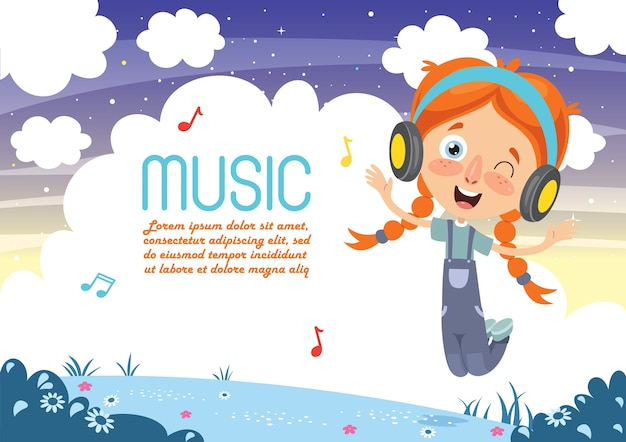 Illustrazione vettoriale di musica d'ascolto del bambino