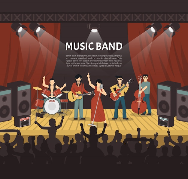 Illustrazione vettoriale di musica pop band