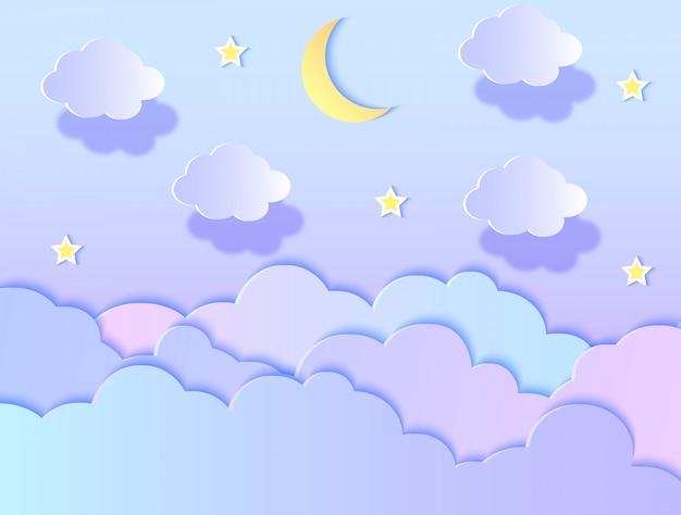 Illustrazione vettoriale di nuvole, stelle e luna. stile di arte della carta.